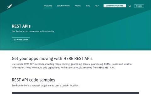 Screenshot of Developers Page here.com - REST APIs - HERE Developer - captured June 4, 2019