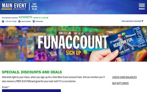 Screenshot of Signup Page mainevent.com - Sign Up for FUNaccount   Main Event - captured Nov. 17, 2016