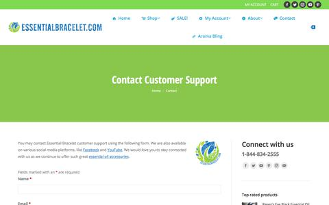 Screenshot of Contact Page essentialbracelet.com - Contact customer support by email or social media | Essential Bracelet - captured July 21, 2018