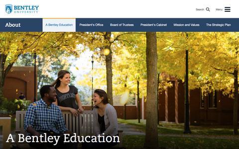 Screenshot of About Page bentley.edu - A Bentley Education   Bentley University - captured Oct. 10, 2019