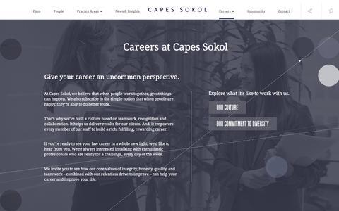 Screenshot of Jobs Page capessokol.com - Capes Sokol | Legal Careers - captured Jan. 25, 2016