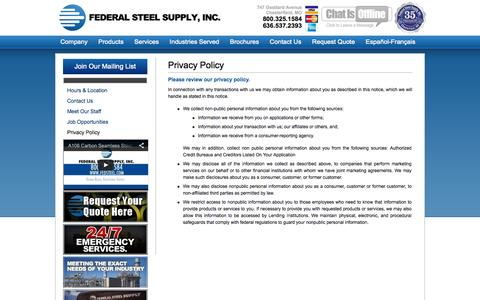 Screenshot of Privacy Page fedsteel.com - Privacy Policy | Steel Supply | Pipe & Tube | Carbon, Alloy, Stainless Steel | Federal Steel Supply - 800.325.1584 - captured Oct. 6, 2014