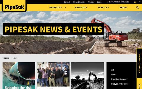 Screenshot of Press Page pipesak.com - News - PipeSak - captured Sept. 28, 2018
