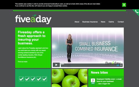 Screenshot of Home Page fiveadayinsurance.co.uk - Fiveaday offers a fresh approach to insuring your business - Fiveaday Insurance - captured Sept. 30, 2014