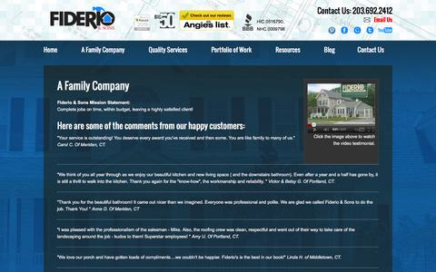 Screenshot of Testimonials Page fiderio.com - Home Remodeling CT | Siding CT | Windows CT | Roofing CT - captured Feb. 10, 2016
