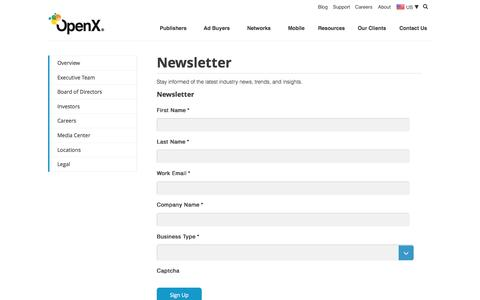 Screenshot of Signup Page openx.com - Newsletter - OpenX - captured June 17, 2015