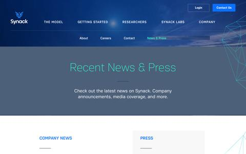Screenshot of Press Page synack.com - Synack | Recent Press - captured Sept. 17, 2014