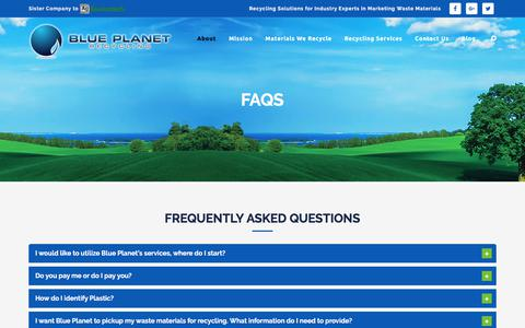 Screenshot of FAQ Page blueplanetrecycling.ca - Blue Planet Recycling Frequently Asked Questions - captured June 1, 2017