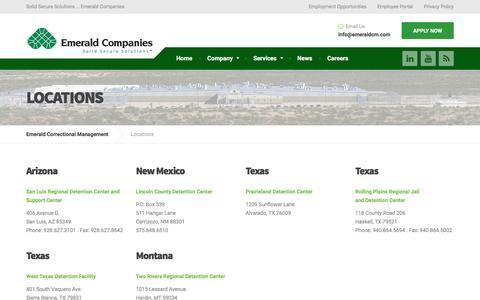 Screenshot of Locations Page emeraldcm.com - Locations – Emerald Correctional Management - captured Nov. 6, 2016