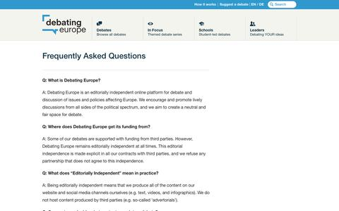 Screenshot of FAQ Page debatingeurope.eu - Frequently Asked Questions - Debating Europe - captured Aug. 6, 2018