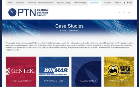 Screenshot of Case Studies Page ptnelectrical.com - Case Studies   PTN Electrical Solutions Limited - captured Oct. 17, 2016