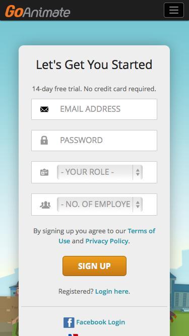 Screenshot of Trial Page  goanimate.com - Sign Up to GoAnimate