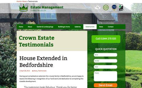 Screenshot of Testimonials Page crownestatemanagement.co.uk - Testimonials Archives | Crown Estate Management - captured Oct. 28, 2014