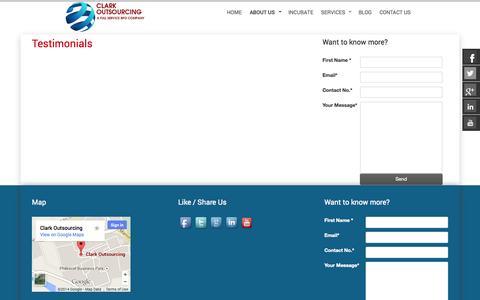 Screenshot of Testimonials Page clarkoutsourcing.com - Clark Outsourcing - captured Sept. 23, 2014