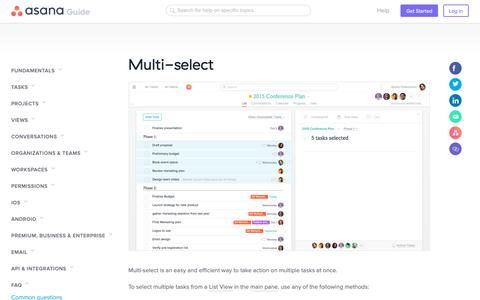 Screenshot of FAQ Page asana.com - How to multi-select tasks | Product guide · Asana - captured Nov. 30, 2018