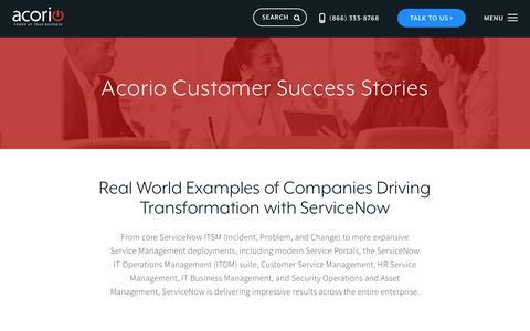 Screenshot of Case Studies Page acorio.com - ServiceNow Customer Success Stories   Acorio - captured July 22, 2019