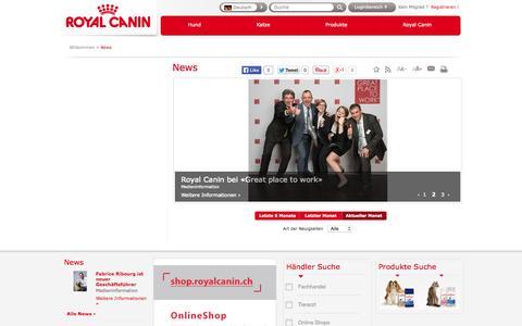 Screenshot of Press Page royalcanin.ch - Willkommen     /         News              - Royal Canin - captured Aug. 14, 2015