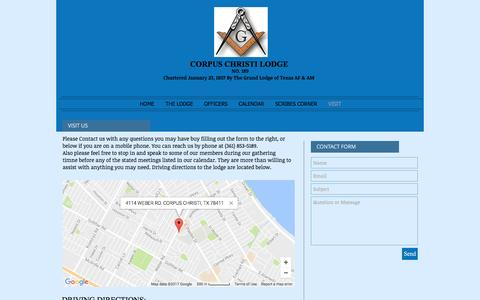 Screenshot of Contact Page Maps & Directions Page masons189.com - Corpus Christi Masonic Lodge 189 | VISIT - captured April 15, 2017