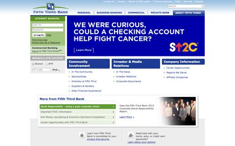 Screenshot of About Page 53.com - About Fifth Third Bank Fifth Third Bank - captured Sept. 18, 2014