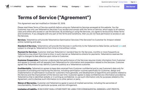 Screenshot of Terms Page teikametrics.com - (1) New Message! - captured Jan. 18, 2019
