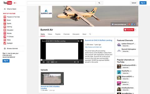 Screenshot of YouTube Page youtube.com - Summit Air  - YouTube - captured Oct. 23, 2014