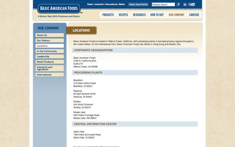 Screenshot of Locations Page baf.com - Our Company - captured Oct. 5, 2014