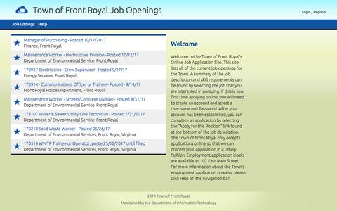 Screenshot of Jobs Page frontroyalva.com - Town of Front Royal Job Openings - captured Nov. 8, 2017