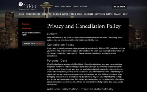 Screenshot of Privacy Page hotel1000seattle.com - Privacy and Cancellation Policy | Hotel 1000 - captured Sept. 22, 2014