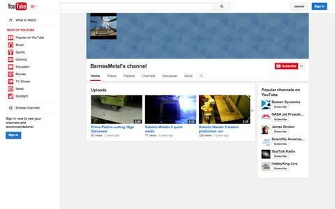 Screenshot of YouTube Page youtube.com - BarnesMetal's channel  - YouTube - captured Oct. 23, 2014