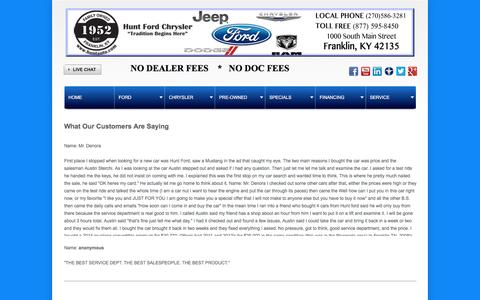 Screenshot of Testimonials Page huntauto.com - Hunt Ford Chrysler - captured Feb. 2, 2016