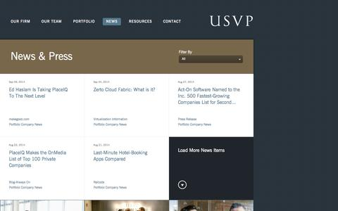 Screenshot of Press Page usvp.com - US Venture Partners - News & Press - captured Sept. 19, 2014
