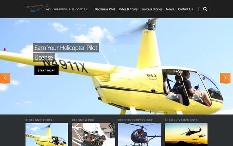 Screenshot of Home Page lakesuperiorhelicopters.com - Helicopter Flight Training and Tours in Duluth Minnesota by Lake Superior Helicopters - captured Sept. 29, 2014