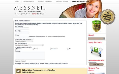 Screenshot of Contact Page messnercarpet.com - Start A Conversation | Messner Carpet - captured Oct. 27, 2014