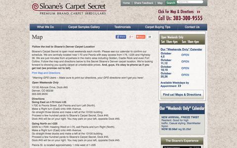Screenshot of Maps & Directions Page sloanescarpetsecret.com - Map - Sloane's Carpet Secret - captured Sept. 30, 2014