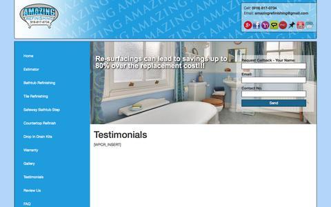 Screenshot of Testimonials Page amazingrefinishing.com - Amazing Bathtub Refinishing NC - captured Oct. 4, 2014