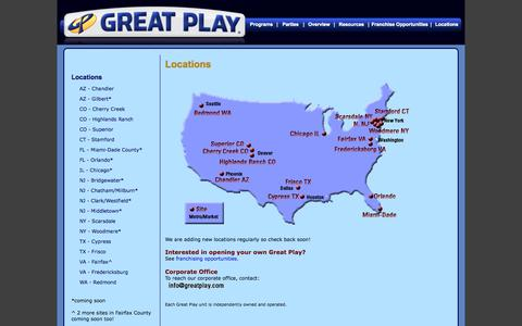 Screenshot of Contact Page Locations Page greatplay.com - Great Play Locations - captured Oct. 22, 2014