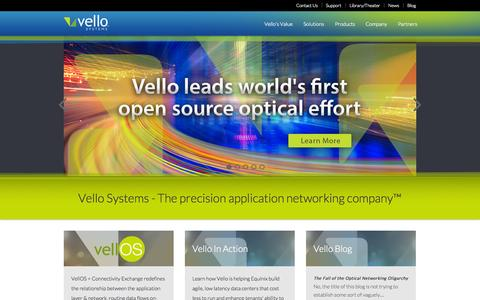 Screenshot of Home Page vellosystems.com - Home - Vello Systems - captured Sept. 17, 2014