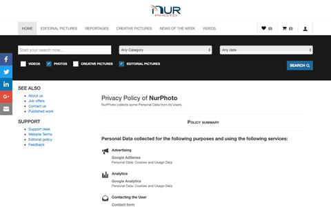 Screenshot of Privacy Page nurphoto.com - PRIVACY POLICY • NurPhoto Agency - captured Oct. 19, 2018