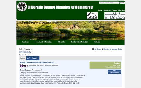 Screenshot of Jobs Page eldoradocounty.org - Job Search - El Dorado County Chamber of Commerce - captured Oct. 22, 2018