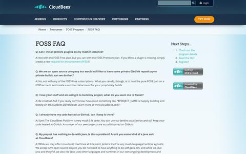 Screenshot of FAQ Page cloudbees.com - FOSS FAQ | CloudBees - captured Oct. 28, 2014