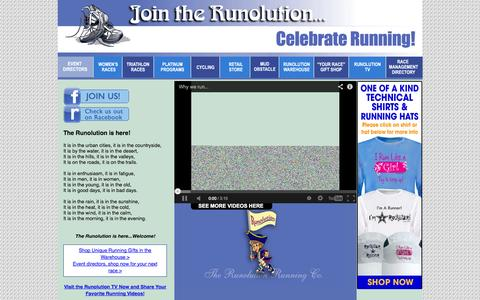 Screenshot of Home Page runolution.com - Running Gifts | Running Race Medals | Running Race Shirts | Event Directors | Race Managers Directory - captured Oct. 9, 2014