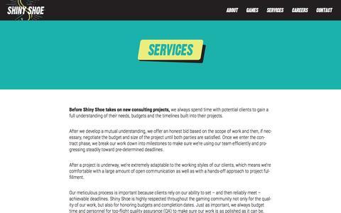 Screenshot of Services Page shinyshoe.com - Services - Shiny Shoe - captured Dec. 21, 2015