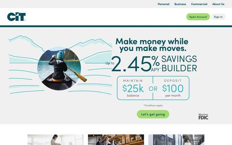 Screenshot of Home Page cit.com - CIT | Personal Banking | Business & Commercial Financing - captured Jan. 18, 2019