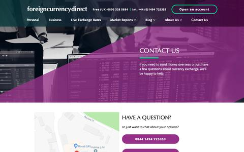 Screenshot of Contact Page currencies.co.uk - Contact Us - Foreign Currency Direct - captured Oct. 10, 2018