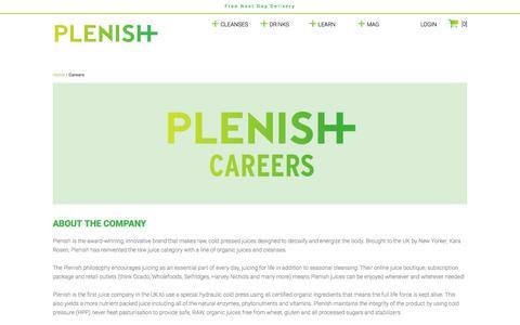 Screenshot of Jobs Page plenishcleanse.com - Careers   Work for Plenish   Plenish - captured July 8, 2017