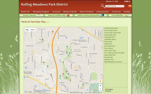 Screenshot of Maps & Directions Page rmparks.org - Rolling Meadows Park District - Parks & Facilities Map - captured Feb. 17, 2016