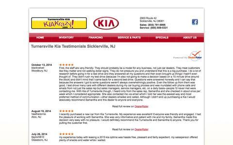 Screenshot of Testimonials Page kiakrazy.com - Turnersville Kia Testimonials Sicklerville, NJ - captured Nov. 4, 2014