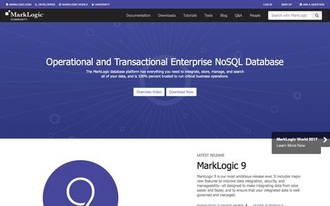 Screenshot of Developers Page marklogic.com - MarkLogic Developer Community - captured May 9, 2017