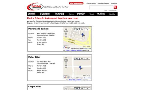 Screenshot of Locations Page driveinautosound.com - Store Locations and Hours - captured Oct. 27, 2014