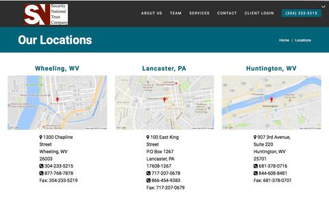 Screenshot of Locations Page securitynationaltrust.com - Our Trust And Investment Management Locations In WV & PA - captured Feb. 16, 2018